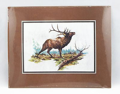 Vintage 1970's Fred Sweney Wapiti Color Foil Etch Matted Print 1