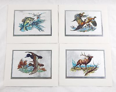 Vintage 1970's Fred Sweney Color Foil Etch Wildlife Print Set 1