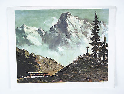 Vintage 1969 Dwight D. Eisenhower Austrian Mountain Scene Canvas Print