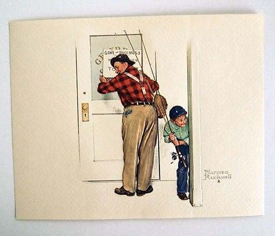 Vintage Norman Rockwell Closed For Business A Helping Hand Embossed Print 1