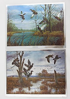 Vintage David Maass Stopover and On The Move Color Foil Etch Two Print Set
