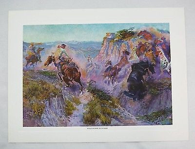 Vintage Charles M. Russell Wild Horse Hunters Print