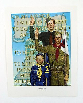 Vintage 1960's Norman Rockwell On My Honor Boy Scout Print