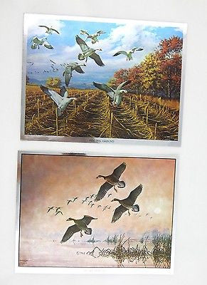 Vintage David Maass Feeding Ground and Silent Descent Foil Etch Two Print Set