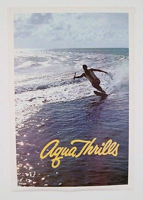 Vintage 1960's Aqua Thrills Water Skiing Factory Sleeved Poster