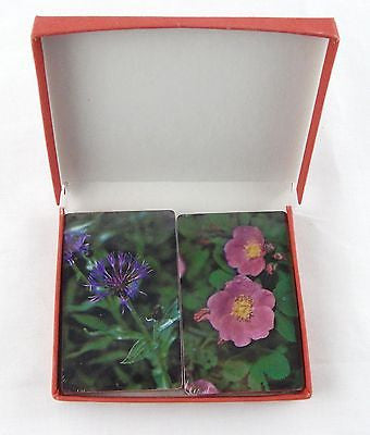 Vintage 1970's Trump Bachelor Button and Pink Primrose Floral Playing Cards Set
