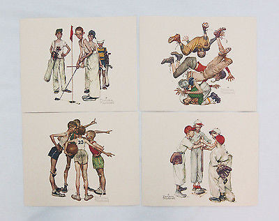 Vintage 1970's Norman Rockwell Sporting Boys 4 Print Set Plus Choosin Up Card