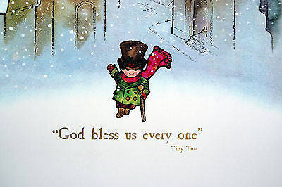 Vintage 1970's A Christmas Carol Tiny Tim God Bless Us Every One Print – Unbelievable Finds