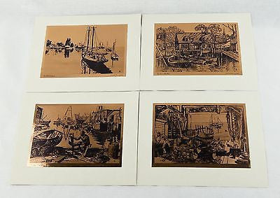 Vintage 1970's Lionel Barrymore Copper Foil Etch 4 Print Set
