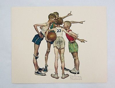 Vintage 1970's Norman Rockwell Oh Yeah! Sporting Boys Basketball Print