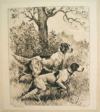 Vintage 1940's R.H. Palenske Steady Boys Hunting Dogs Print
