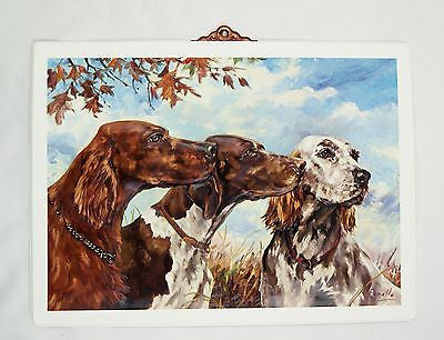 Vintage Stanford Fenelle Irish English Setters and Pointer Vacuum Form Print