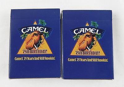 Vintage Camel 75th Anniversary Joe Camel Poker Size Playing Cards Two Deck Set