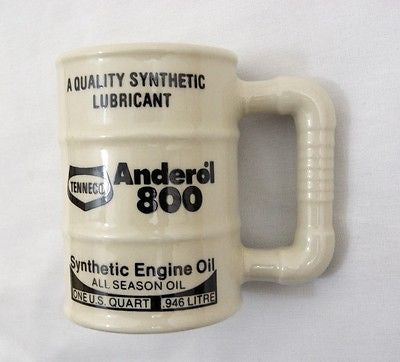 Vintage 1980's Tenneco Anderol 800 Oil Barrel Ceramic Coffee Mug