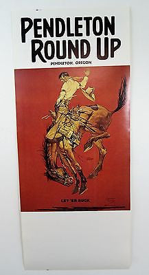 Vintage 1964 Pendleton Round Up Let Er Buck Rodeo Poster