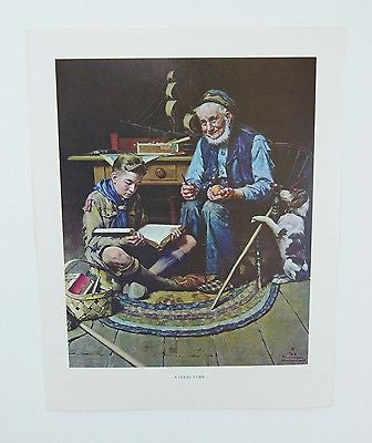 Vintage Norman Rockwell A Good Turn and We Thank Thee O Lord Boy Scout Print Set