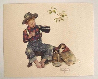 Vintage Norman Rockwell Mysterious Malady A Boy and His Dog Embossed Print 2