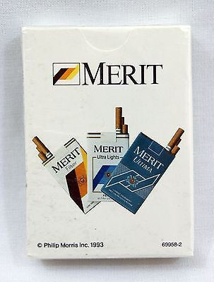 Vintage 1993 Philip Morris Inc. Merit Cigarettes Poker Size Playing Cards