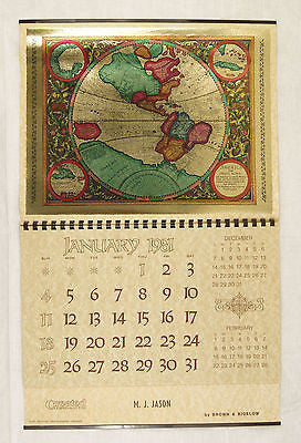Vintage 1981 2026 America Fiue India Nova 17th Century Foil Etch Map Calendar