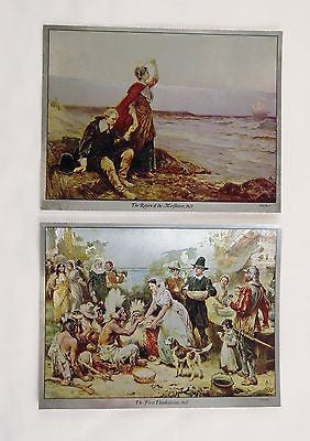 J.L.G. Ferris Return of the Mayflower and First Thanksgiving Foil Etch Print Set