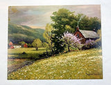 Vintage 1970's Robert Wood Early Spring Pressed Board Lithograph Print