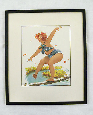 Vintage 1960's Duane Bryers Hilda Balancing on a Tree Branch Framed Print