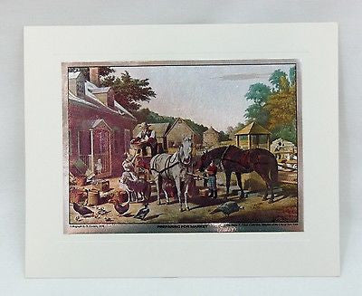Vintage 1970's Currier and Ives Preparing For Market Color Foil Etch Print