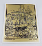 Lionel Barrymore Old Red Bank and Little Boatyard Venice Gold Foil Print Set