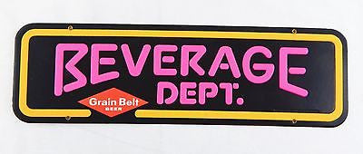 Vintage 1979 Grain Belt Beer Embossed Beverage Dept. Sign