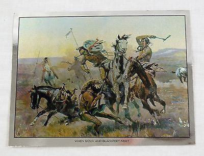 Vintage Charles M. Russell When Sioux and Blackfeet Meet Color Foil Etch Print