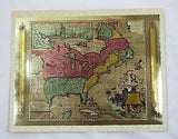Vintage 1970's Matthew Seutter 1735 North America Color Foil Etch Map