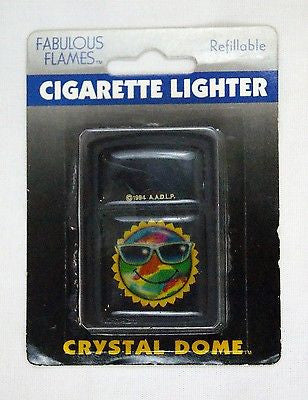 Vintage 1994 Fabulous Flames Crystal Dome Tie Dye Sun Windproof Lighter