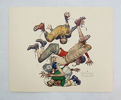 Vintage 1970's Norman Rockwell First Down Sporting Boys Football Print