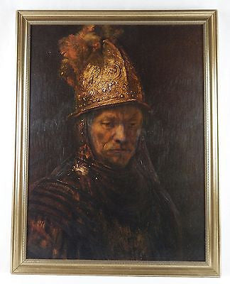 Vintage Rembrandt van Rijn Man With Golden Helmet Framed Canvas Print