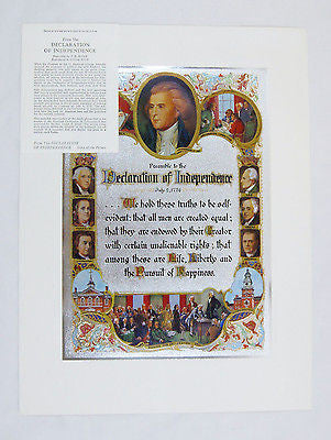 Vintage 1970's Preamble To The Declaration Of Independence Color Foil Etch Print