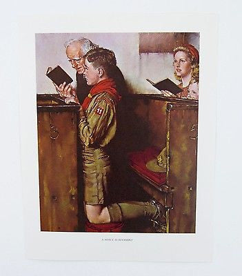 Vintage 1960's Norman Rockwell Scout is Reverent Boy Scout Print