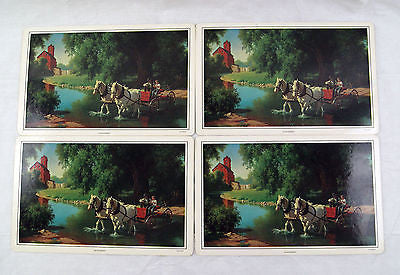 Vintage 1970's Paul Detlefsen The Big Moment Place Mat Dinner Mat Set of Four