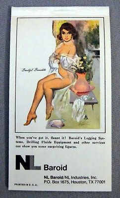 Vintage 1978 Fritz Willis Beautiful Bernadette Pin Up Notepad and Calendar