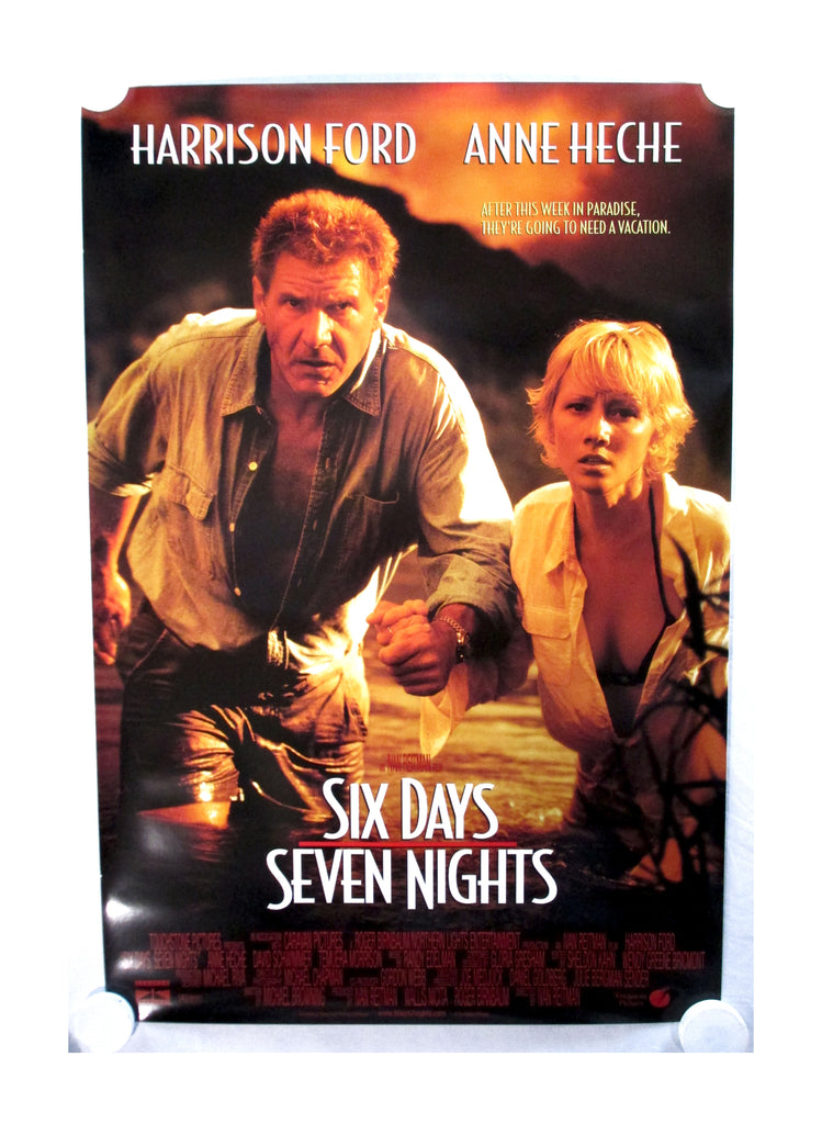 Vintage 1998 Six Days Seven Nights Two Sided Original Movie Theater Poster
