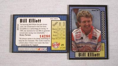 Vintage NASCAR 1991 Bill Elliott Raised Face Maxx Card Collector Card