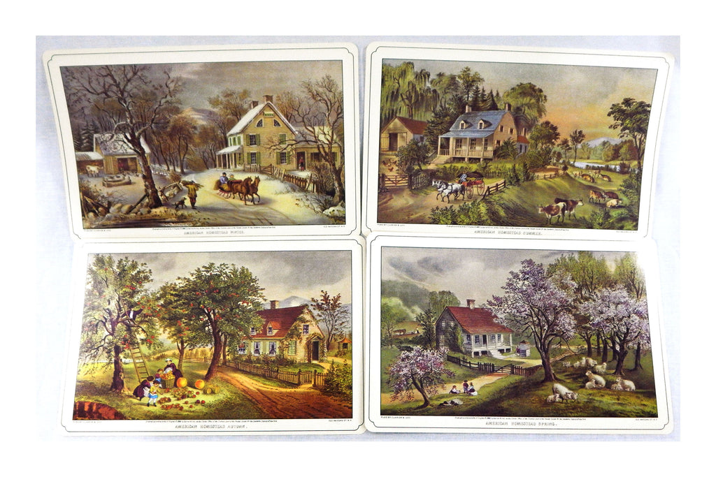 Vintage 1970's Currier and Ives American Homestead Place Mat Dinner Mat Set