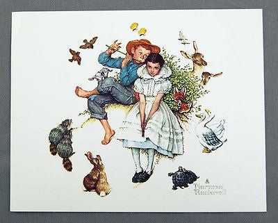 Vintage 1970's Norman Rockwell Sweet Song So Young Four Seasons Series Print 1