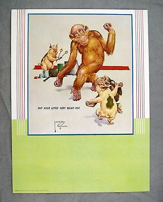 Vintage 1947 Lawson Wood Monkeys Put Your Little Foot Right Out Calendar Print