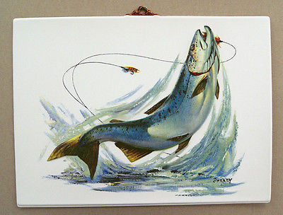Vintage 1970's Fred Sweney Blue Trout Formcraft Vacuum Form Print