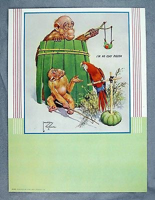 Vintage 1947 Lawson Wood Monkeys I'm No Clay Pigeon Calendar Print