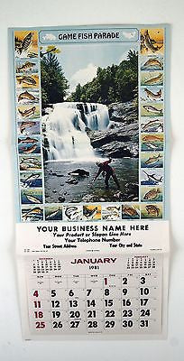 Vintage 1981 Game Fish Parade Calendar Print