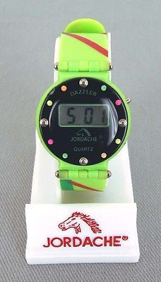 Vintage Jordache Dazzler Quartz Green Watch 3 NEW BATTERY READY TO WEAR