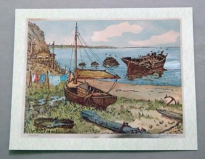 Vintage 1970's Lionel Barrymore Rocky Point Color Foil Etch Print 1