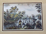 Vintage 1970's Currier and Ives The Trout Stream Color Foil Etch Matted Print 1