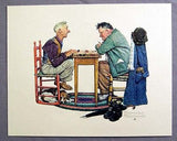 Vintage 1970's Norman Rockwell Old Sports Embossed 4 Print Set